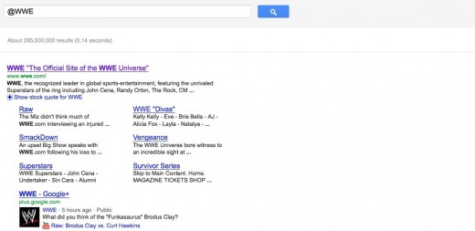 @wwe Google Search 2 520x253 This example is why Twitter is concerned about Google search, but should they be?