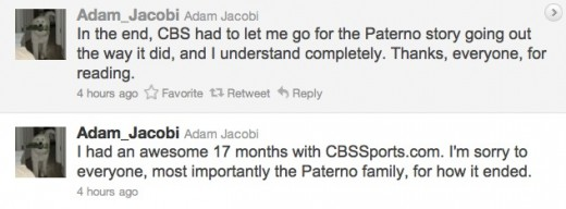 Jacobi tweet 520x192 CBS fires sports blogger following Twitter based misstep on Paternos death