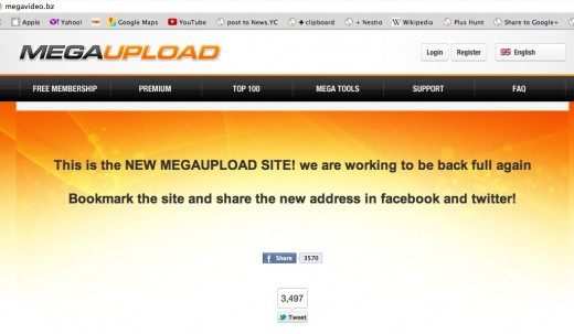 MEGAUPLOAD IS BACK NEW MEGAUPLOAD SITE The leading online storage and file delivery service  520x303 Megaupload may be trying to get back online under new domain name