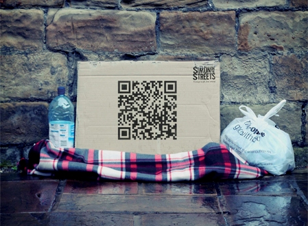uk homeless charity benefits from qr codes. Black Bedroom Furniture Sets. Home Design Ideas