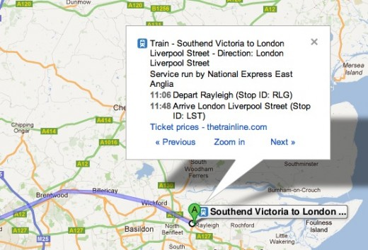 Screen Shot 2012 01 19 at 11.04.38 520x354 Google Maps gets UK national train times, routes and directions