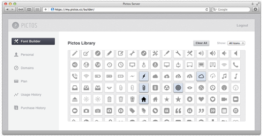 Screen Shot 2012 01 27 at 5.48.03 PM Pictos is like Typekit for your UI with over 650 icons to play with
