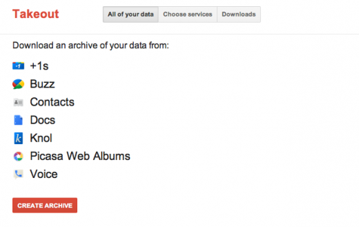"""Google Takeout - """"All your data"""""""