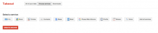 """Google Takeout - """"Choose services"""""""