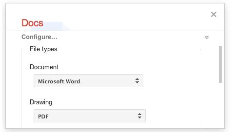 Google Takeout - Docs filetypes