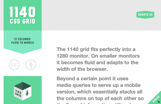 The 1140px CSS Grid System · Fluid down to mobile 520x338 10 Beautiful examples of responsive Web design