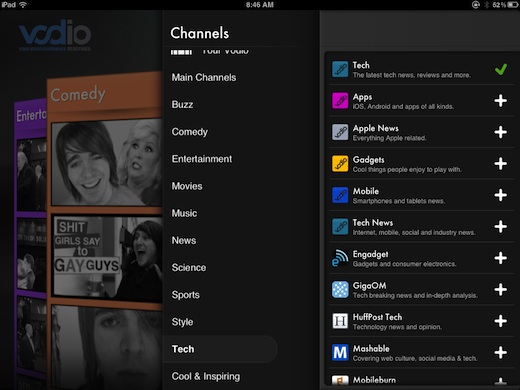 Vodio2 iPad app Vodio is Flipboard for Videos