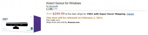 kinect amazon 520x123 Microsoft will sell Kinect for Windows for $249.99 from February 1