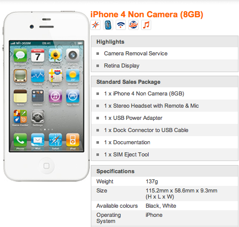 m1iphone Official: Camera less iPhone models now on sale in Singapore