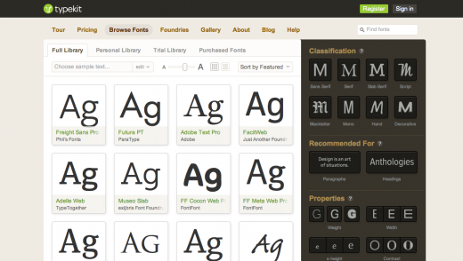 typekit 520x294 Getting started with web fonts: Google, Typekit and @font face