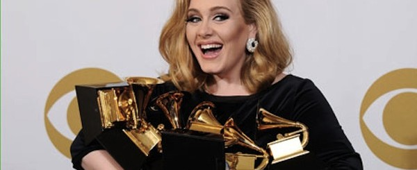 Adele with her Grammys.