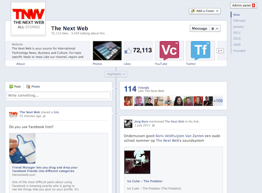 Screen shot 2012 02 29 at 3.28.04 PM Facebook rolling out timeline for brand pages, available to all by March 31