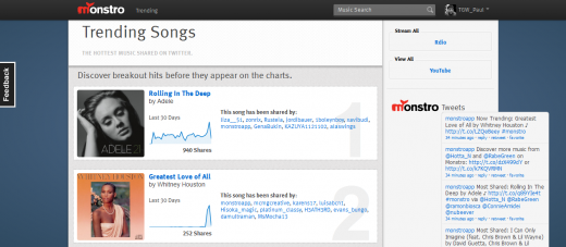 Trending.png 520x227 Monstro creates playlists from music shared on Twitter