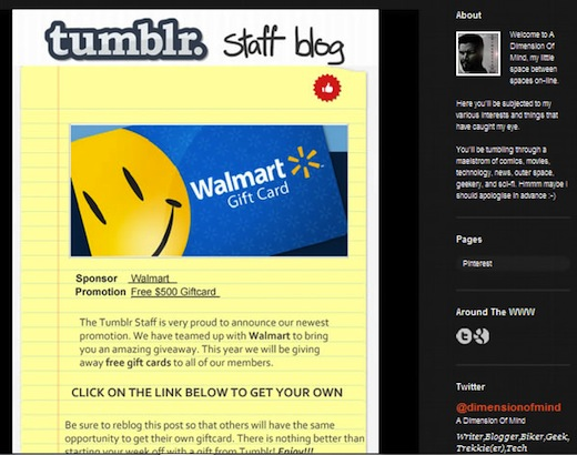 Tumblr Staff Blog Issue Phishing scam promising free iPhones and Walmart giftcards popping up on Tumblr blogs