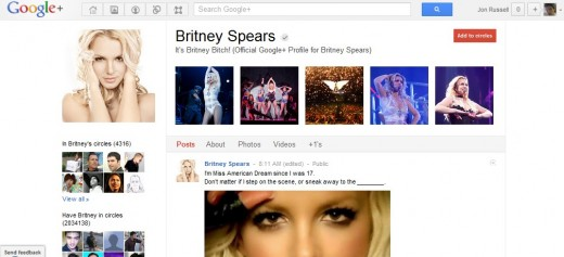 britney spears profile 520x237 Oops I did it again: Britney Spears claims another Google+ first, hits 2 million followers