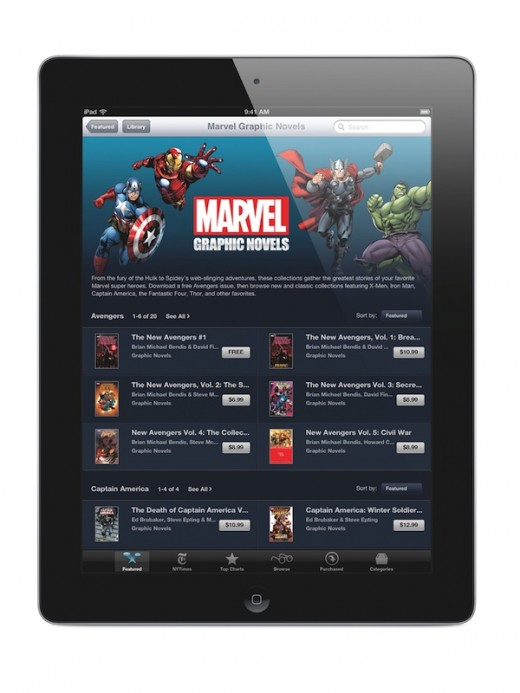 iPad Marvel 520x693 Marvel comes to Apples iBookstore in a big way with over 80 graphic novels