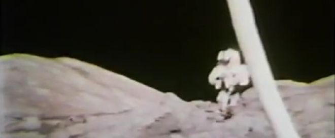 A party with no atmosphere: Excellent archive video of astronauts singing on the moon