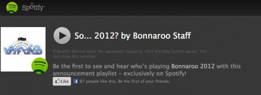 playlist 520x190 Bonnaroo 2012 lineup announced on Spotify with an official playlist