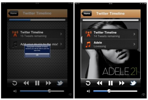 screenshot 2012 02 28 à 01.36.05 520x352 The Social Radio now lets you listen to your tweets in music on your iPhone