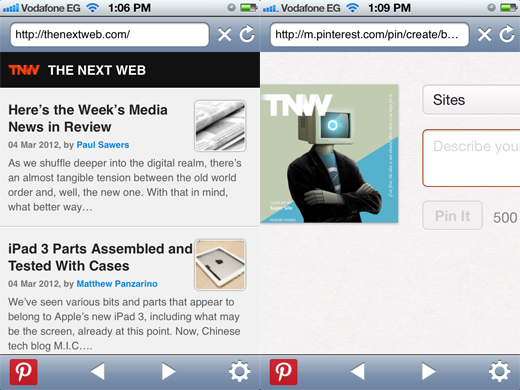 Pinterest button for browser