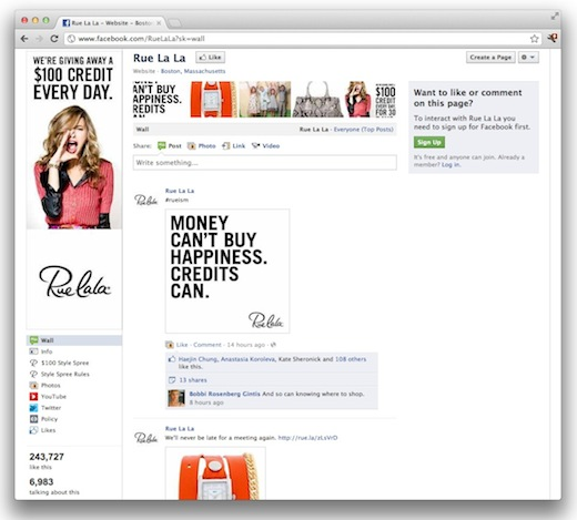 RueLaLaFB How luxury brands are using social media