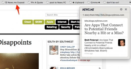 Technology Bits Blog NYTimes.com 1 520x274 News.me launches Exposé bookmarklet to help you find news shared by your friends