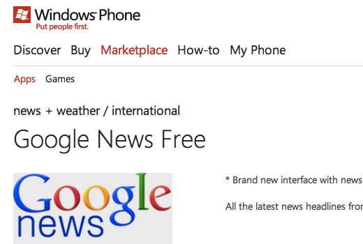app free googlenews Why the Windows Phone Marketplace is looking more like a slimy app cesspool every day