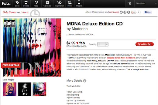 fabmadonnaa Madonna leverages social networks and startup Fab.com for MDNA album push