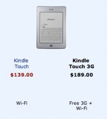kindle touch comparison 220x244 Amazons Kindle Touch 3G now available for global pre order, with European and Brazilian versions