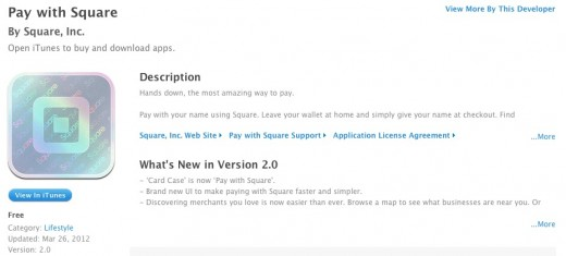 screenshot 2012 03 26 à 01.36.28 520x235 Squares Card Case app becomes Pay with Square to speed up payments and boost discovery
