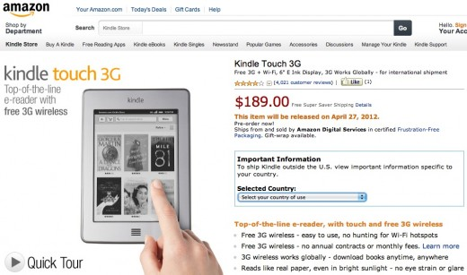 screenshot 2012 03 28 à 15.31.56 520x307 Amazons Kindle Touch 3G now available for global pre order, with European and Brazilian versions
