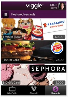 viggle 3 220x312 Second screen app Viggle offers rewards, lures over a quarter million users