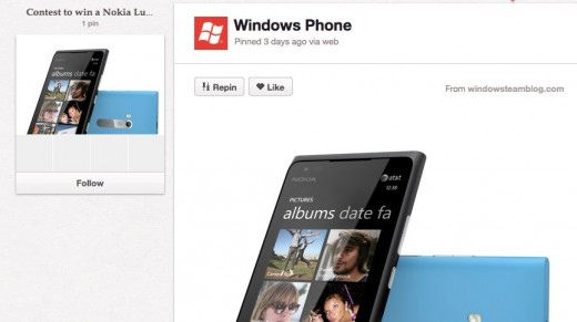 Contest to win a Nokia Lumia 900   We're giving away a Nokia Lumia 900. Want to win it Here's hof 200000 other prizes visit FreeTimeMachine.com . Official contest rules at http   newwp.it HnAfiB 520x291 Microsoft boldly takes to Pinterest for Nokia Lumia 900 contest and promotion
