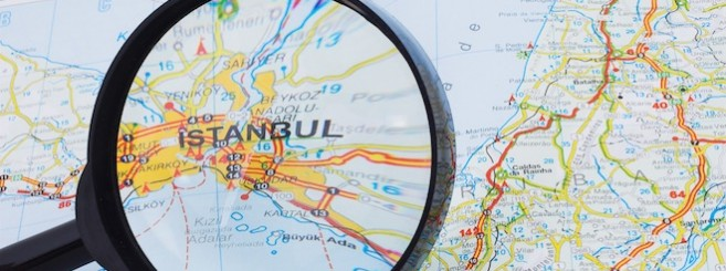 Istanbul on the map under Magnifying glass