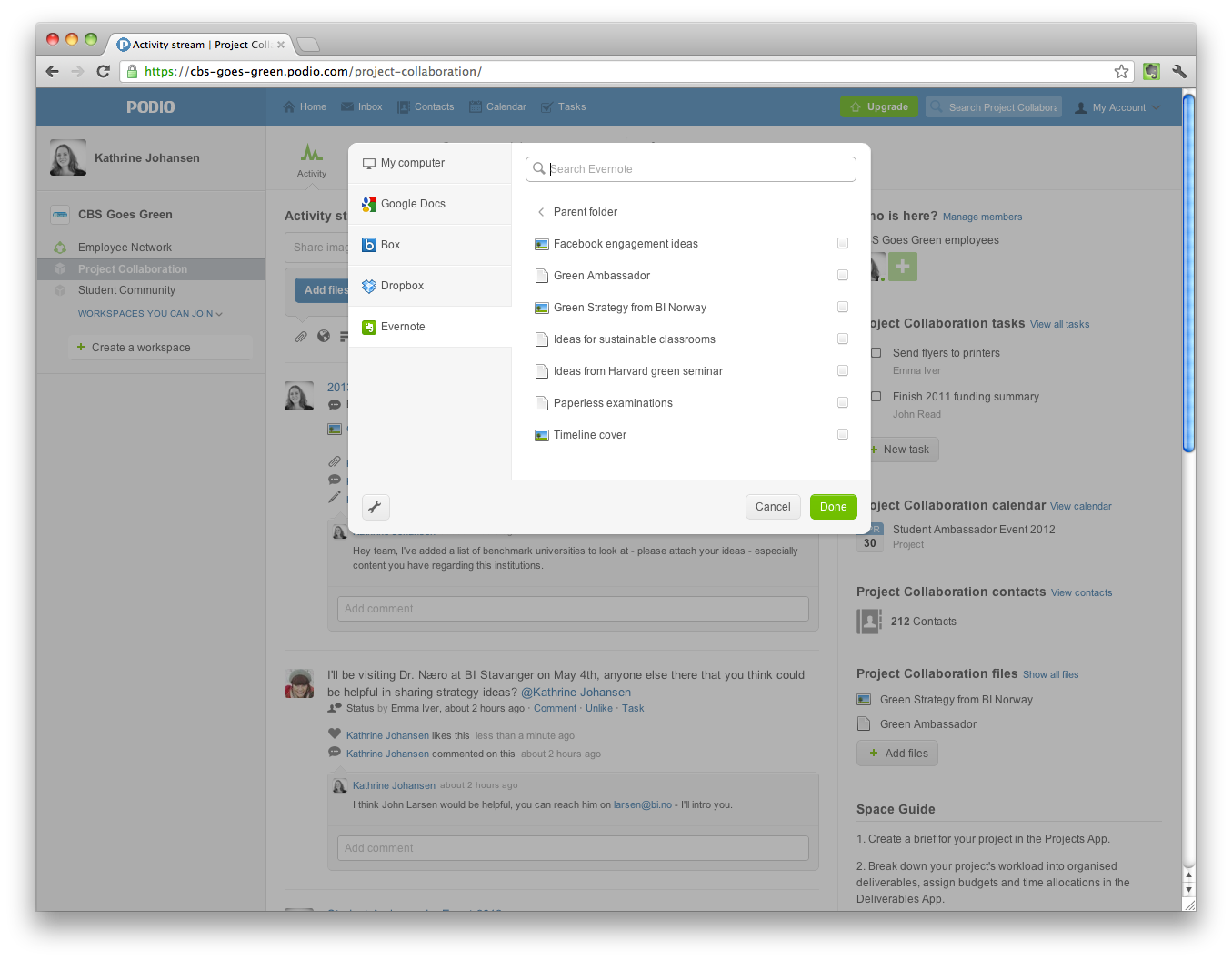 Online Collaboration Tool Podio Now Supports Evernote