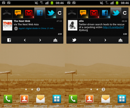 a BlingBoard brings Gmail, Facebook, Twitter and SMS together in one Android widget