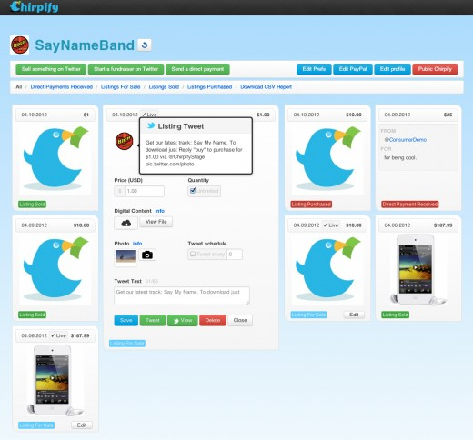 dashboard music 520x484 Chirpify raises $1.3M from Hootsuite, Facebook vets to build Twitter platform for digital commerce