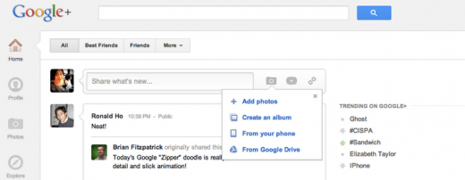 google drive to googleplus 520x202 Google Drive extends to Google+ to allow easy sharing of cloud based photos