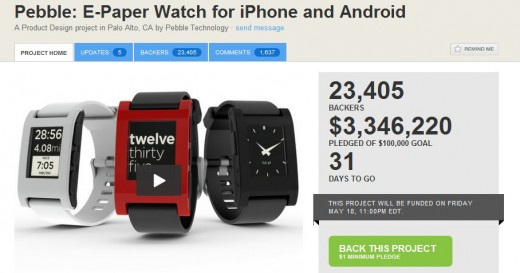 pebble 520x273 Pebble smartwatch breaks Kickstarters $3.3 million record...with a full month still to go