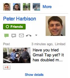 people widget recent posts Gmail adds photo and video thumbnails from Google+ to people widget