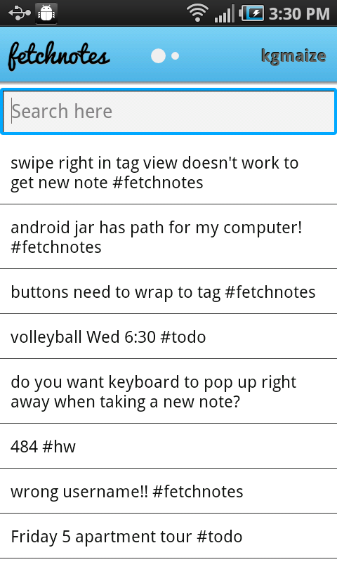 search screen Fetchnotes launches its slick note taking app for iOS, Android, and the Web