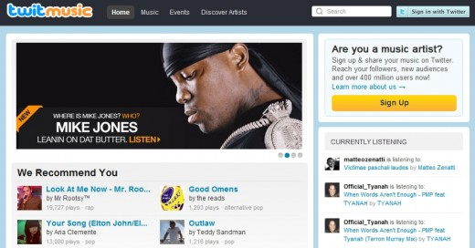twitmusic front page 520x272 Twitmusic is socializing the Web music industry using Twitter and top artists