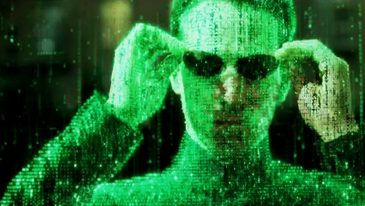 Neo from The Matrix, viewing the world through code