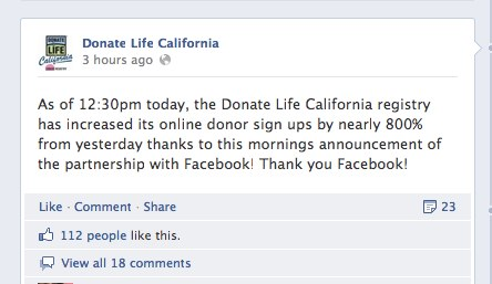 7 Donate Life California California sees 800% boost in organ donation registration thanks to Facebook