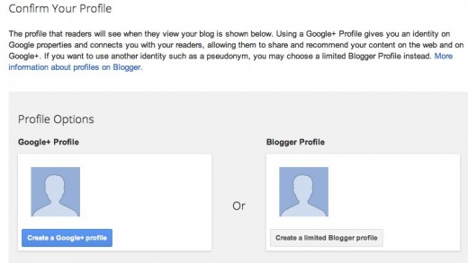 Blogger  Confirm your profile 520x293 Googles Blogger updates its signup process, now lets you attach your Google+ profile