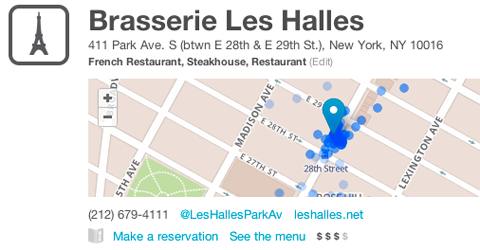 BrasserieLesHalles Foursquare partners with OpenTable to make reservations at hot venues