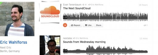 Eric Wahlforss's stream on SoundCloud Create record and share your sounds for free 520x182 SoundCloud announces Next version of its site, hits 15M users