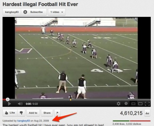 Hardest illegal Football Hit Ever YouTube 1 520x426 Socialcam is pumping popular YouTube videos into its app to drive usage. Smart or seedy?