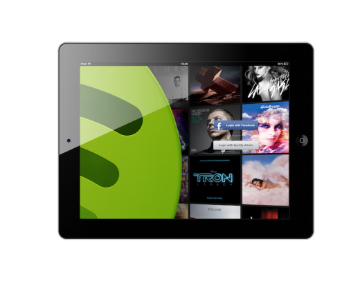 Login screen with frame 520x416 The wait is finally over: Spotify finally launches its new iPad app