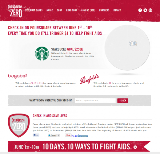 REDRUSH com Check InPage 520x499 Donation by action: Starbucks to donate $1 for foursquare check ins to fight AIDS with (RED)